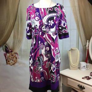 Karin Stevens Multi Colored Floral Print Dress